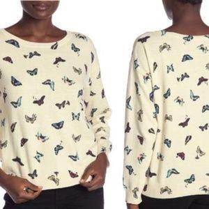 Joie Eloisa Butterfly Print Crewneck Sweater